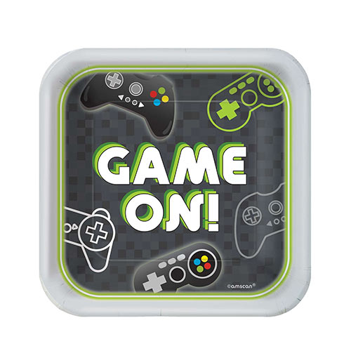 Level Up Gaming Square Paper Plates 18cm - Pack of 8 Product Image