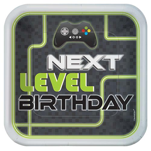 Level Up Gaming Square Paper Plates 23cm - Pack of 8 Product Image