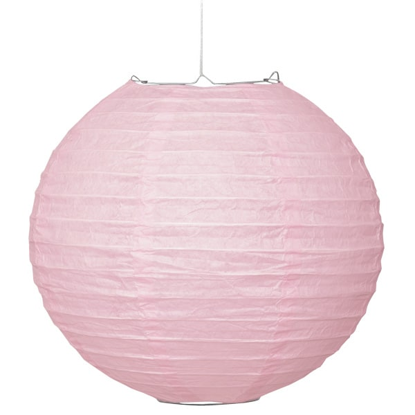 Light Pink Hanging Round Paper Lantern 25cm Product Image