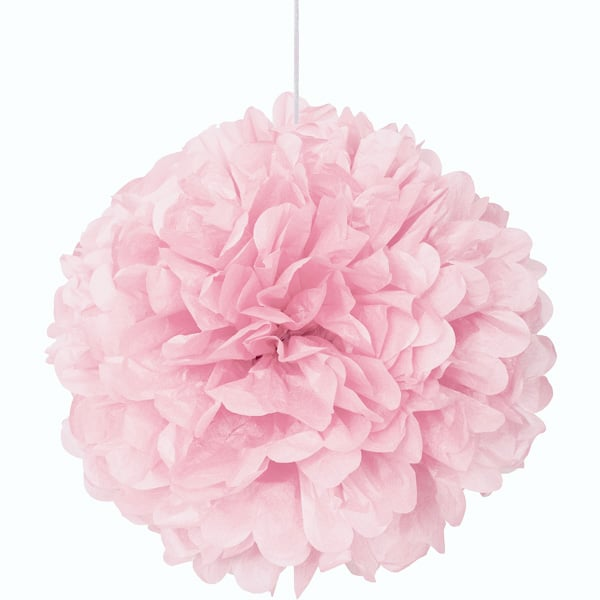 Light Pink Honeycomb Hanging Decoration Puff Ball 40cm Product Image