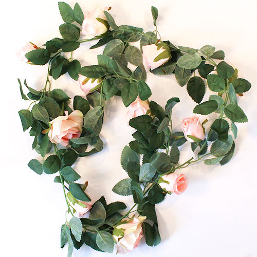 Light Pink Roses Artificial Silk Flowers Garland 175cm Product Gallery Image