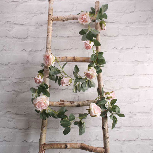 Light Pink Roses Artificial Silk Flowers Garland 175cm Product Image