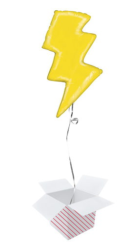Lightning Bolt Helium Foil Giant Balloon - Inflated Balloon In A Box Product Image