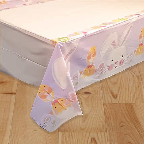 Lilac Easter Plastic Tablecover 213cm x 137cm