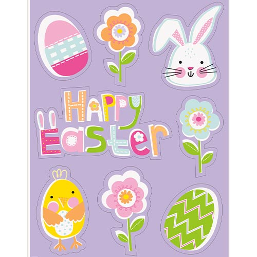 Lilac Easter Stickers Window Decorations