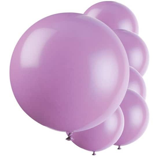 Lilac Jumbo Biodegradable Latex Balloons - 91cm - Pack of 6 Product Image