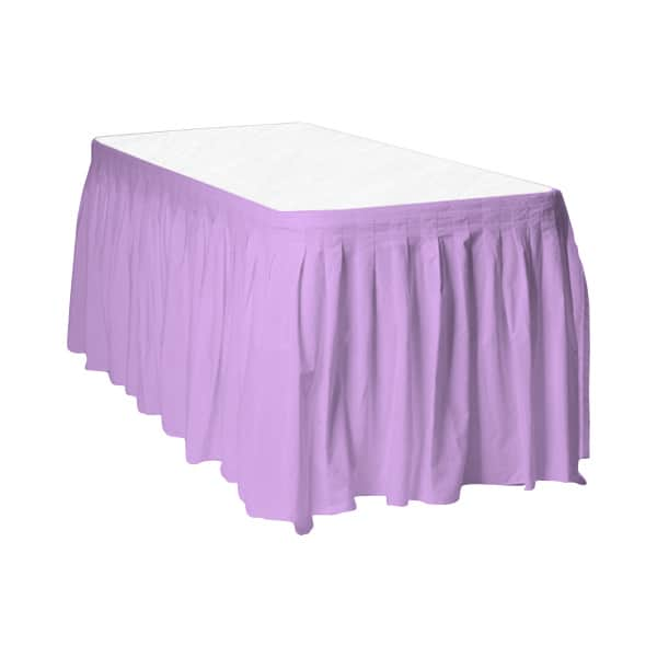 Lilac Plastic Table Skirt - 426cm x 74cm