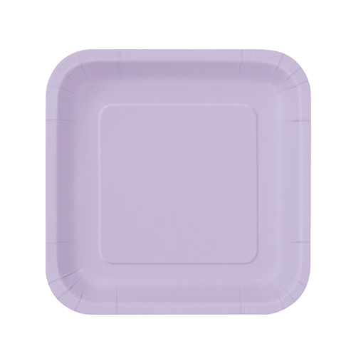 Lilac Square Paper Plates 17cm - Pack of 16