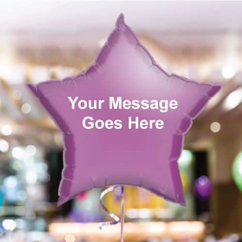 Personalised Lilac Star Foil Balloon - Pack of 10
