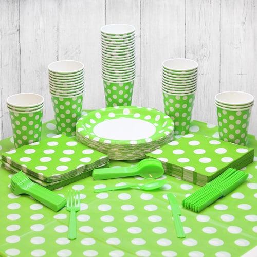 Lime Green Decorative Dot 54 Person Party Pack
