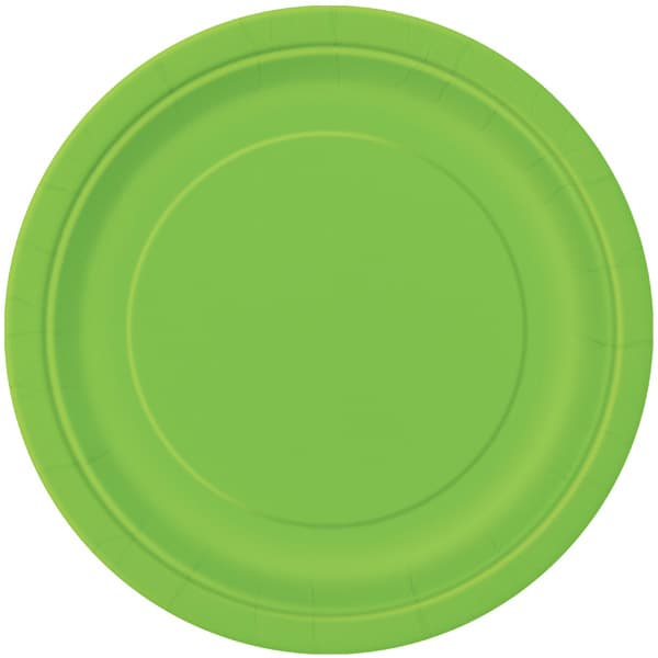 Lime Green Round Paper Plates 22cm - Pack of 16 Bundle Product Image