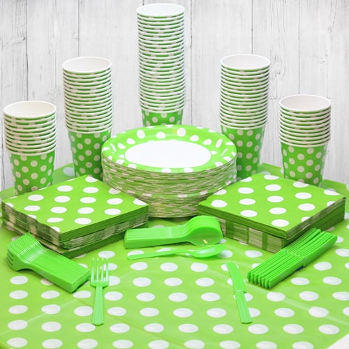 Lime Green Decorative Dot 90 Person Party Pack