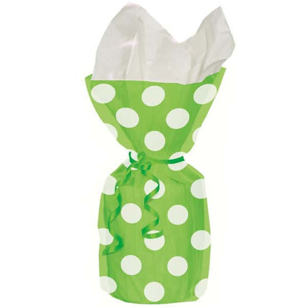 Lime Green Decorative Dots Gift Bags - Pack of 20