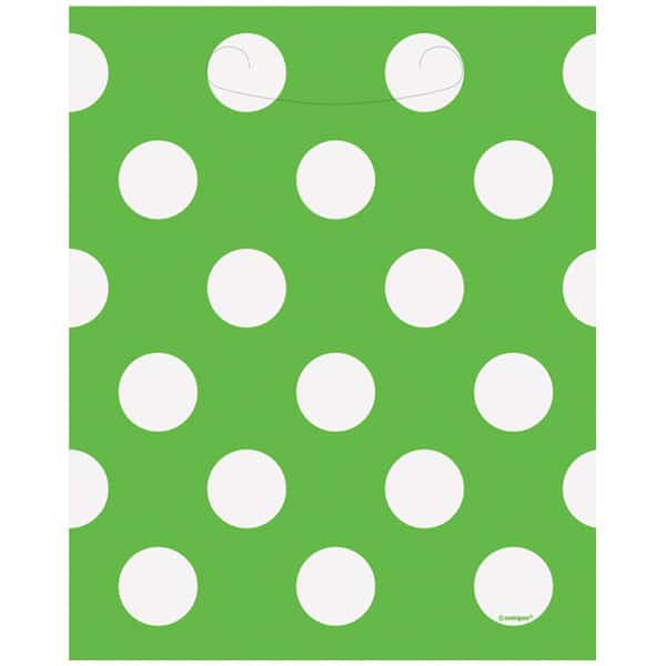 Lime Green Decorative Dots Loot Bags - Pack of 8