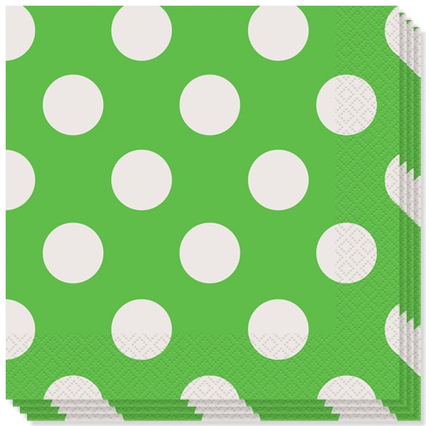Lime Green Decorative Dots 2 Ply Luncheon Napkins - 13 Inches / 33cm - Pack of 16
