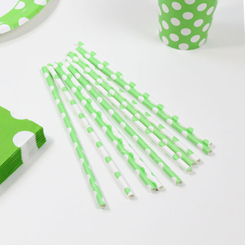 Lime Green Decorative Dots Paper Drinking Straws - Pack of 10