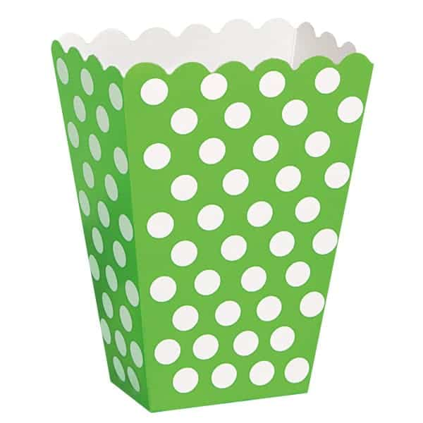 Lime Green Decorative Dots Treat Boxes - Pack of 8