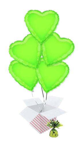 Lime Green Heart Shape Foil Helium Balloon Bouquet - 5 Inflated Balloons In A Box Product Image