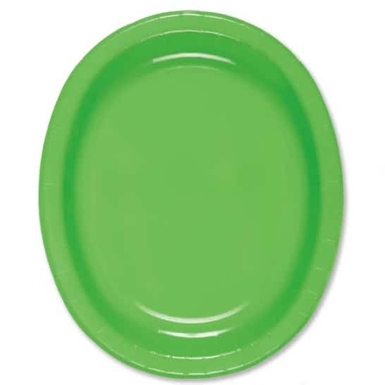 Lime Green Oval Paper Plates 30cm - Pack of 8