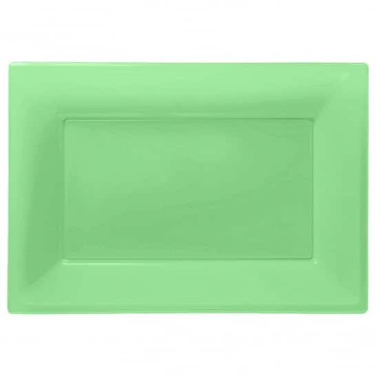 Kiwi Green Rectangular Plastic Serving Tray - 23cm x 33cm - Pack of 3