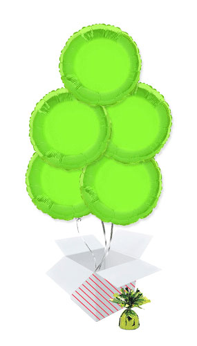 Lime Green Round Foil Helium Balloon Bouquet - 5 Inflated Balloons In A Box Product Image