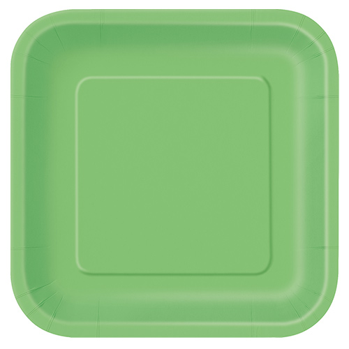 Lime Green Square Paper Plates 22cm - Pack of 14