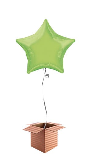 Lime Green Star Shape Foil Balloon - Inflated Balloon in a Box Product Image