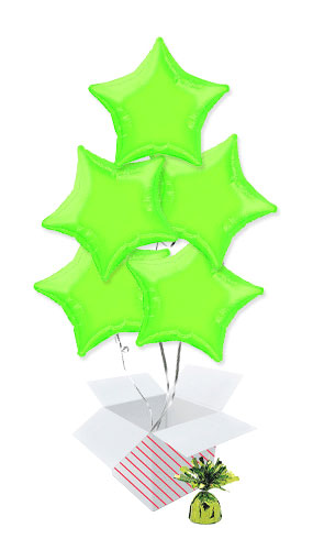 Lime Green Star Shape Foil Helium Balloon Bouquet - 5 Inflated Balloons In A Box Product Image