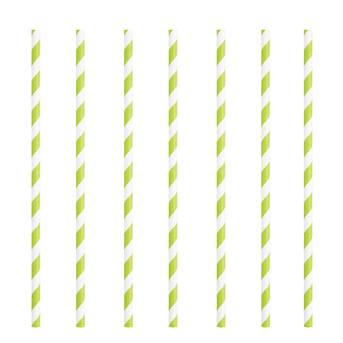 Lime Green Striped Eco-Friendly Paper Straws - Pack of 10 Product Image
