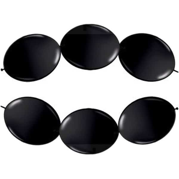 Black Latex Linking Balloons - 12 Inches / 30cm - Pack of 15 Product Image