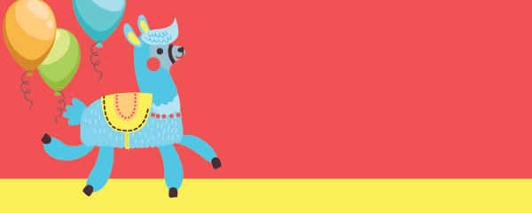 Llama And Balloons Design Large Personalised Banner - 10ft x 4ft