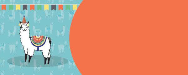 Llama And Bunting Design Medium Personalised Banner - 6ft x 2.25ft