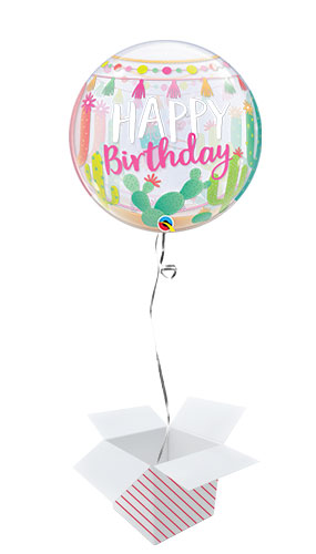 Llama Birthday Party Bubble Helium Qualatex Balloon - Inflated Balloon in a Box Product Image