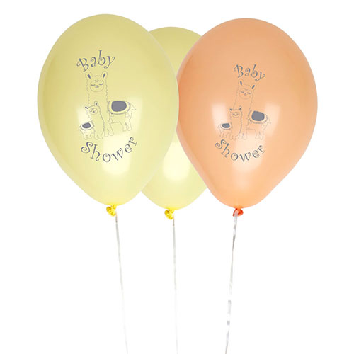 Llama Love Baby Shower Biodegradable Assorted Latex Balloons 28cm / 11 in - Pack of 8 Product Image