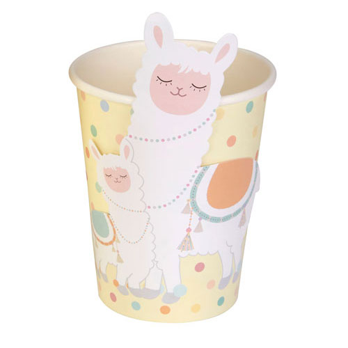 Llama Love Paper Cups 266ml - Pack of 8 Product Gallery Image