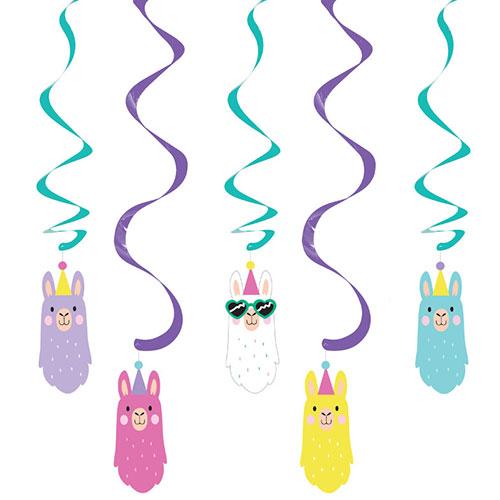 Llama Dizzy Danglers Swirl Hanging Decorations - Pack of 5