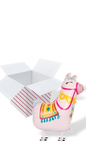 Llama Walking Pet Foil Helium Balloon - Inflated Balloon in a Box Product Image