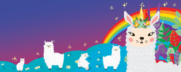 Llamacorn On Field Design Small Personalised Banner - 4ft x 2ft