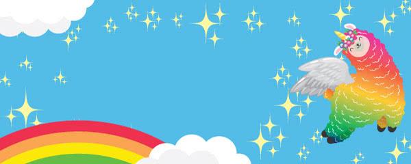 Llamacorn Rainbow And Stars Design Medium Personalised Banner - 6ft x 2.25ft