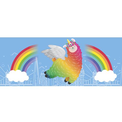 Llamacorn Rainbow Skyline PVC Party Sign Decoration 60cm x 25cm Product Image
