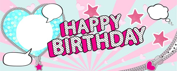LOL Blue Heart Happy Birthday Design Small Personalised Banner - 4ft x 2ft