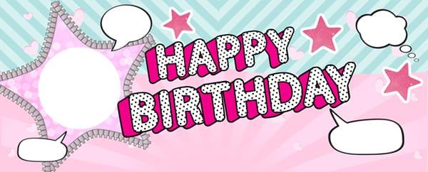 LOL Pink Star Happy Birthday Design Medium Personalised Banner - 6ft x 2.25ft