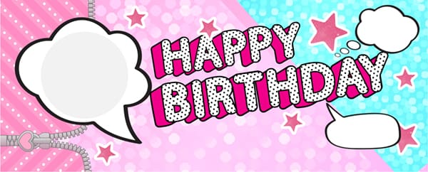LOL Speech Bubbles Happy Birthday Pink And Blue Design Medium Personalised Banner - 6ft x 2.25ft