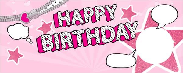 LOL Speech Bubbles Happy Birthday Pink Design Medium Personalised Banner - 6ft x 2.25ft