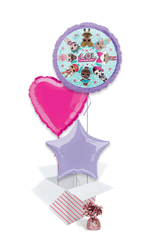 LOL Surprise Girls Foil Helium Balloon Bouquet - 3 Inflated Balloons In A Box Product Image