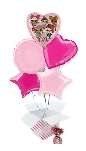 LOL Surprise Pink Foil Helium Balloon Bouquet - 5 Inflated  Balloons In A Box Product Image