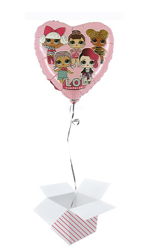 LOL Surprise Pink Heart Round Foil Helium Balloon - Inflated Balloon in a Box Product Image