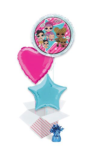 LOL Surprise Round Foil Helium Balloon Bouquet - 3 Inflated Balloons In A Box Product Image