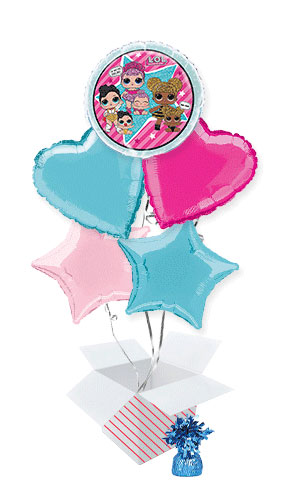 LOL Surprise Round Foil Helium Balloon Bouquet - 5 Inflated Balloons In A Box Product Image