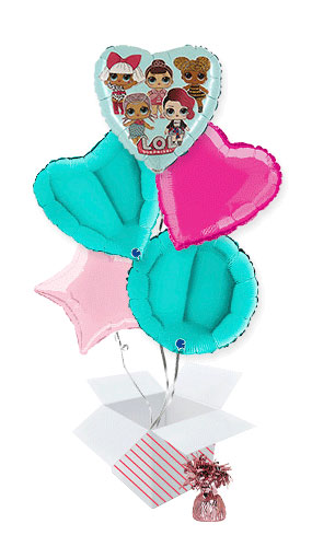 LOL Surprise Tiffany Foil Helium Balloon Bouquet - 5 Inflated Balloons In A Box Product Image